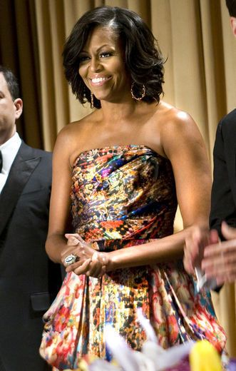 The First Lady introduced designer Naeem Kahn to the masses when she  wore one of his designs to the 2009 White House State Dinner with the Indian Prime Minister, and then again at the White House Correspondents' Dinner May 2012.