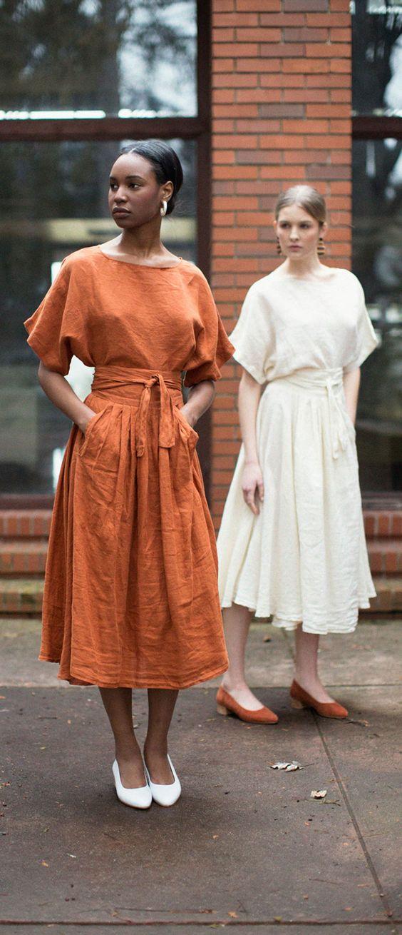 Black Crane Wrap Skirt & Top in Brick and Cream.