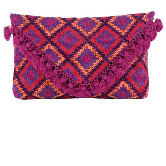 Stela 9 Colibri Playa Clutch (290 BRL) ❤ liked on Polyvore featuring bags, handbags, clutches, accessories, clutches & evening, pink, purple purse, evening purse, pink purse and pink clutches