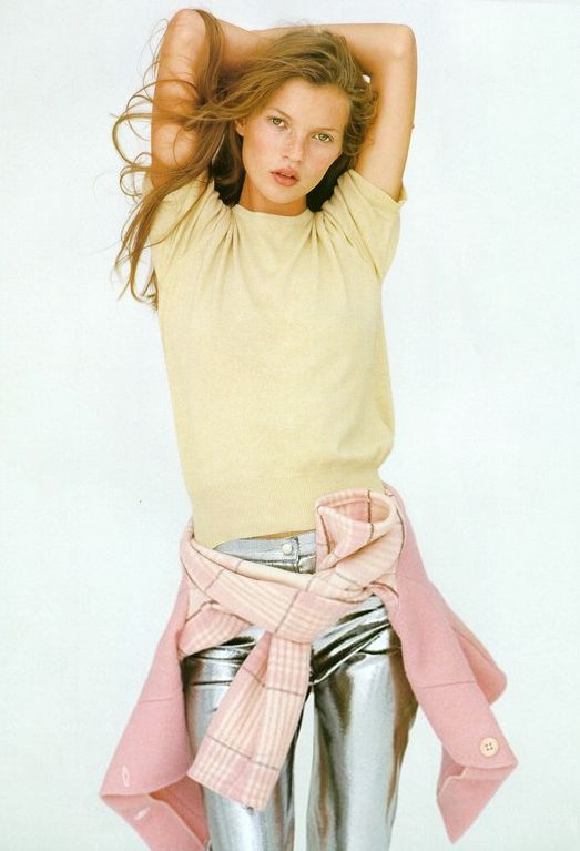 KATE MOSS | PASTELS + SILVER | VOGUE UK 1993