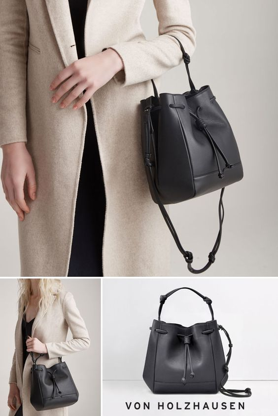 This von Holzhausen Mini Bucket Bag in black is ideal for work, play and travel. It's a great addition to your capsule wardrobe. Removable and adjustable straps allow this bag to be worn as a handheld, crossbody bag or over the shoulder. The bag has a lightweight construction and comes with removable wallet inside.