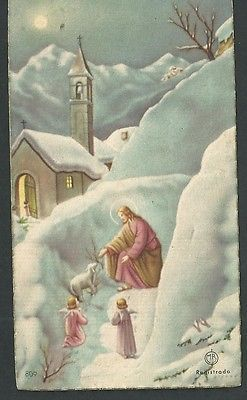 Estampa antigua del Buen Pastor andachtsbild santino holy card santini