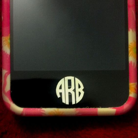 Monogram iPhone home button vinyl sticker! $4 for 6 on Etsy LOVE!