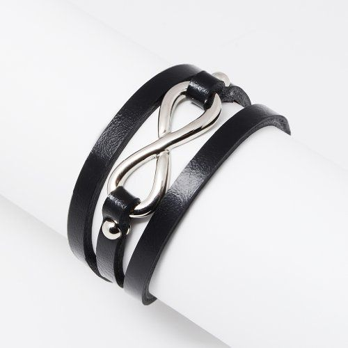 Stainless Steel and Leather Infinity Sign Multi Wrap Bracelet. Leather cord for your casual everyday use. Single open circle for pretty but powerful accent. Leather cord length of 14 inches wraps around most wrists. Simple and classic black velvet pouch packaging for storage and a nice gift presentation. Search Amazon for Chuvora leather cord jewelry for matching pieces.