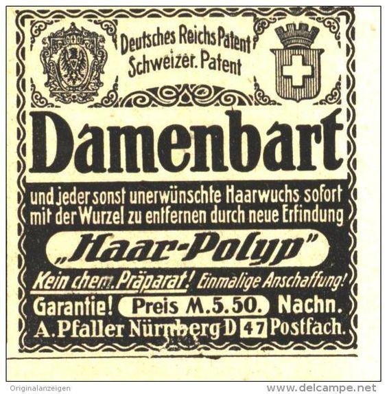 Original-Werbung/ Anzeige 1918 - DAMEN - BART / HAAR-POLYP / PFALLER NÜRNBERG - ca. 45 x 45 mm