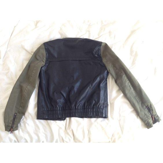 Zara Jackets & Coats - Zara green canvas and black faux leather jacket