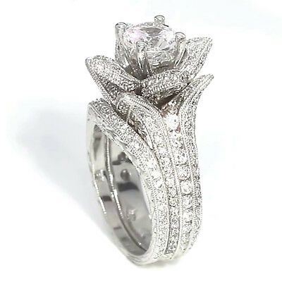 Lotus Flower 14K White Gold Plated Round Solitaire Black Simulated Diamond Princess Engagement Wedding Ring
