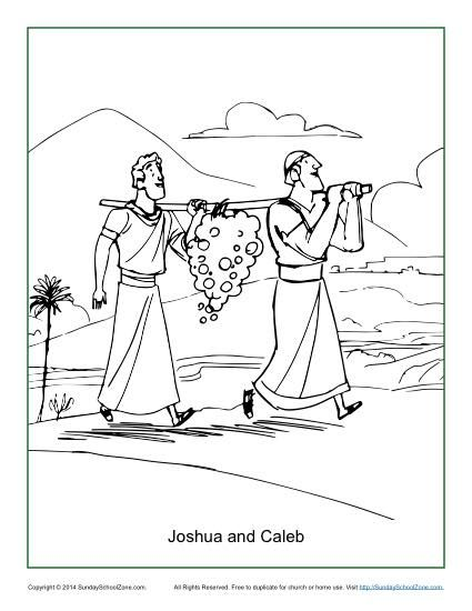 joshua and the promised land coloring page - joshua and caleb and the twelve spies free coloring pages