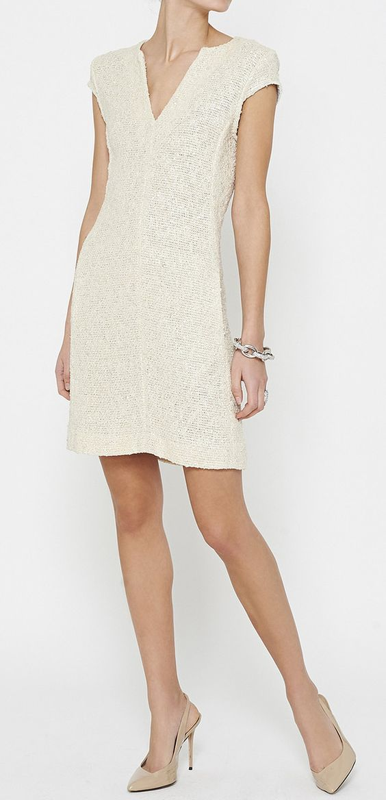 L'Agence Beige And Silver Dress