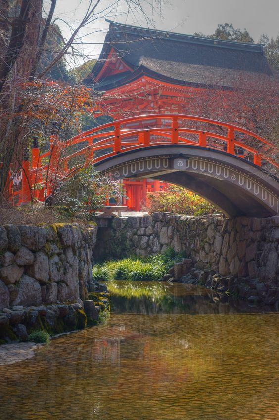 Footbridge to Shrine. Japan