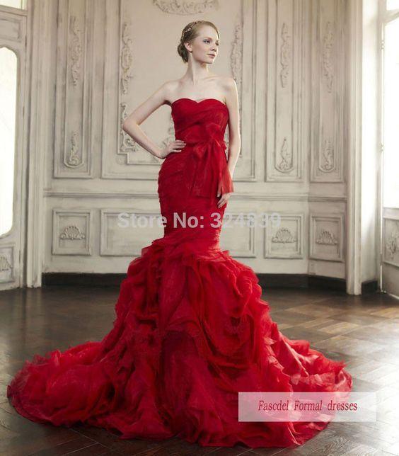 Jolie Rouge Robe DE Mariée Sirène Robe DE BAL Robe DE Soirée  eBay ...