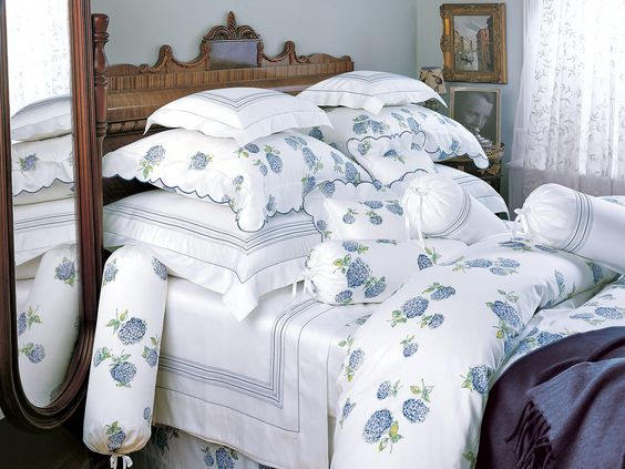 Hydrangea - Fine Bed Linens - Very special, the sunlit glow of shimmering White 300 thread count printed cotton sateen is joyously bursting out all over with big, bountiful hydrangea blossoms in Blue