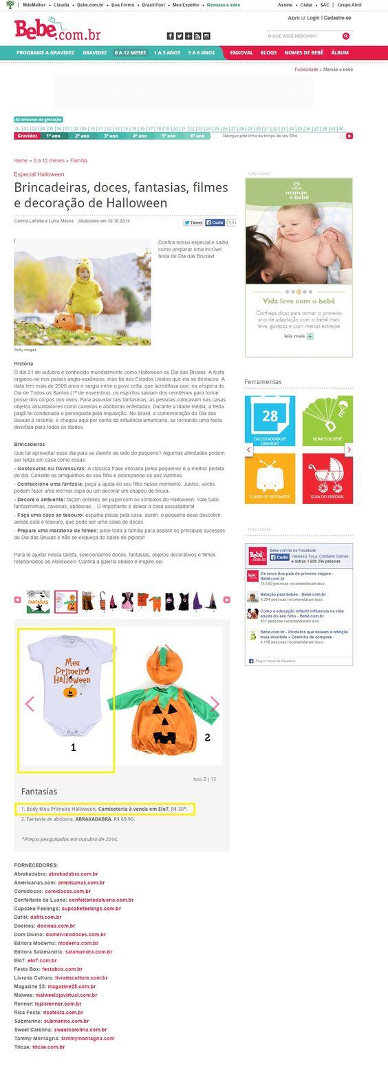 Cinco produtos da Elo7 foram publicados no Portal Bebê.com em matéria sobre o Halloween.