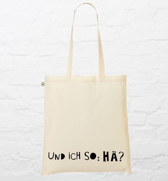 "Jutebeutel ""Und ich so: hä?"" // Tote bag ""What?"" by tandanetleshirt via DaWanda.com"
