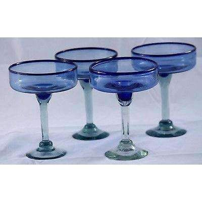 Mexican Margarita Glasses Hand Blown Set Of 4 Cobalt Blue Rim Glass Original Margarita Glasses Margarita Glass