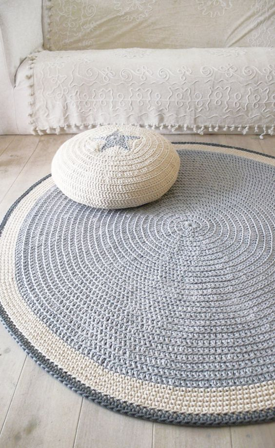 round rug floor crochet 100cm tapis penny crochet et tapis. Black Bedroom Furniture Sets. Home Design Ideas