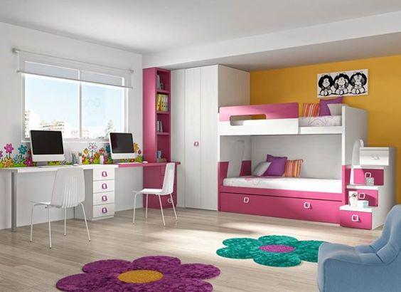 Habitaci n juvenil en blanco veta con detalles en fucsia - Quitamiedos para literas ...