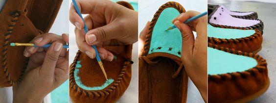 DIY color block moccasins.