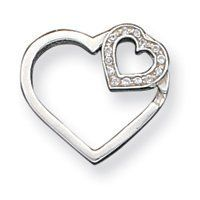 Sterling Silver Double Heart with CZ Slide - JewelryWeb JewelryWeb. $26.60. Save 50%!