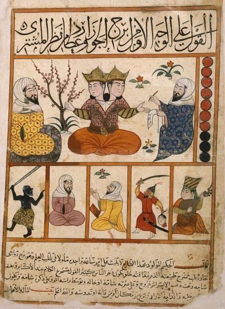 """Reproducción de doce miniaturas persas sobre los signos del Zodiaco. Sus originales pertenecen a un tratado de astrología del siglo IX titulado """"Kitâb al-Mawalid"""", de Abû Ma'shar.:"""