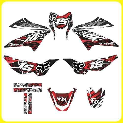 Tuning Motos Honda Xr 150 Monster Rockstar Fox Stickers Stickers Para Motos Calcomanias Para Coches Calcomania Para Auto