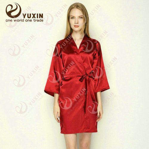 Womens Plain Satin Robes Bridal Wedding Bridesmaid Bride Gown Kimono Robe UK