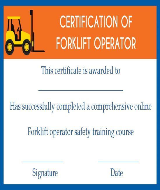 15 Forklift Certification Card Template For Training Providers Template Sumo Certificate Of Completion Template Certificate Templates Training Certificate