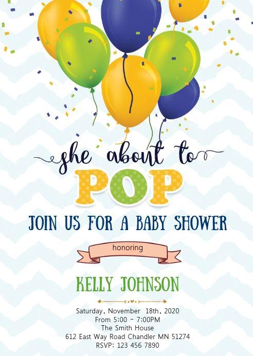 Ready To Pop Baby Shower Invitation Birthday Poster Pop Baby Showers Shopkins Invitations Template