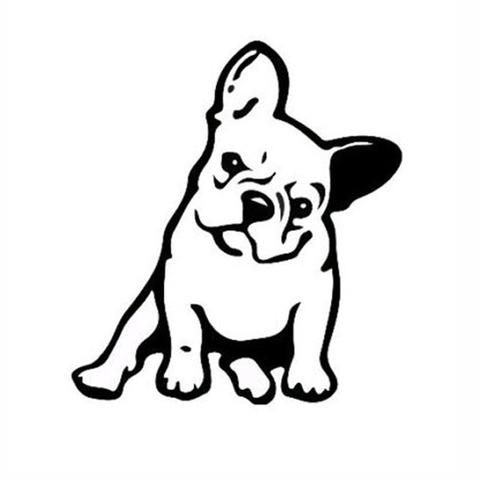 Angry French Bulldog Sitting Tilted Outline Small Sticker French