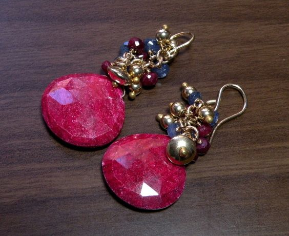 Sapphire and Ruby Tabiz Cluster Earrings 14K Gold. $85.00, via Etsy.