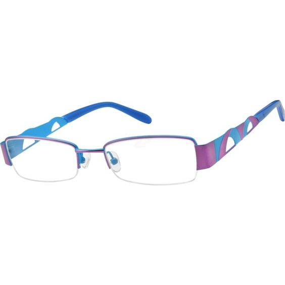 Waves of color define this bright, stainless steel half-rim frame. Fun and fashionable, the modern treatment along the temple arms adds to the comfortable and adjustable design of this distinctive frame. Adjustable nosepads allow for a customized fit.