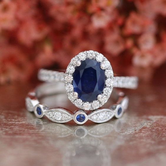Blue Sapphire Engagement Ring and Bezel Scalloped Diamond Wedding Ring Bridal Set in 14k White Gold Oval Cut Gemstone Ring Set