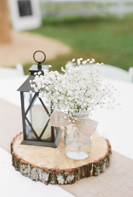 Neutral Wedding Color Palette Ideas: Mason Jar Centerpiece | Brides.com