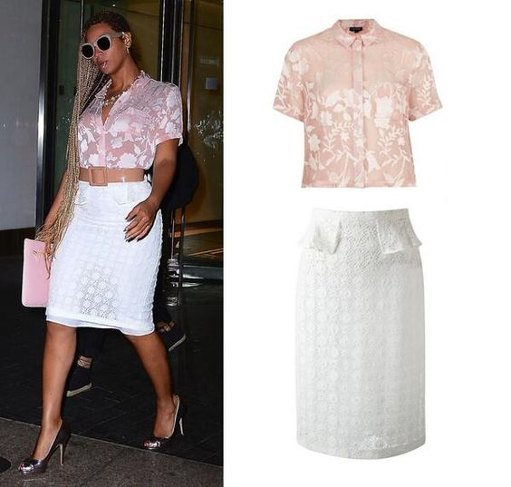Beyoncé Was Wearing Topshop Pink Crinkle Flowers Shirt $40 & Burberry Prorsum White Lace Pencil Skirt $1283