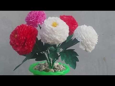Diy Kerajinan Bunga Dahlia Dari Plastik Kresek How To Make Dahlias From Plastic Bags Youtube Dahlia Plants Tutorial