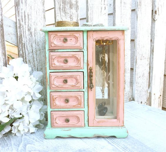 Two Tone Mint and Coral SHABBY CHIC Jewelry Box by HuckleberryVntg
