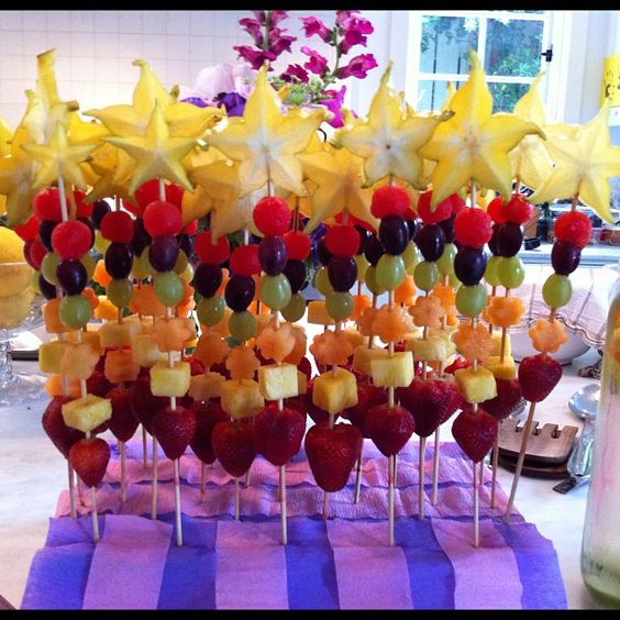 Fruit wands for a little girl's birthday party...love this!