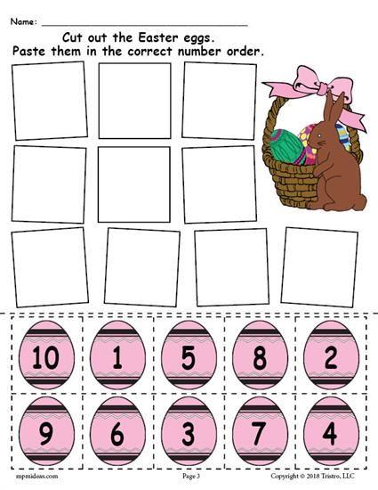 Printable Easter Egg Number Ordering Worksheet Numbers 1 10 Easter Preschool Easter Learning Activities Easter Math Activities