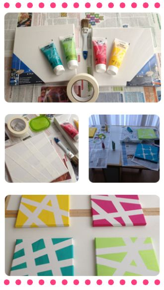 tape, canvase,  paint   Could also do Shapes, Animals, Stickers....anything!: