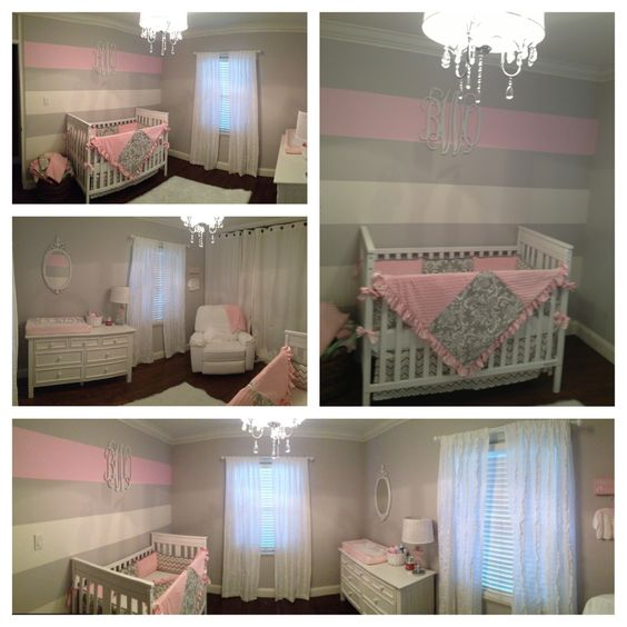 Pink And Purple Srtipes On Accent Wall: Grey & Pink Striped Accent Wall With Accent Pink Strip