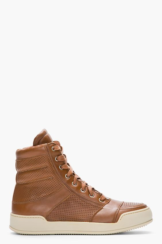 BALMAIN Brown Perforated Leather High-Top Sneakers