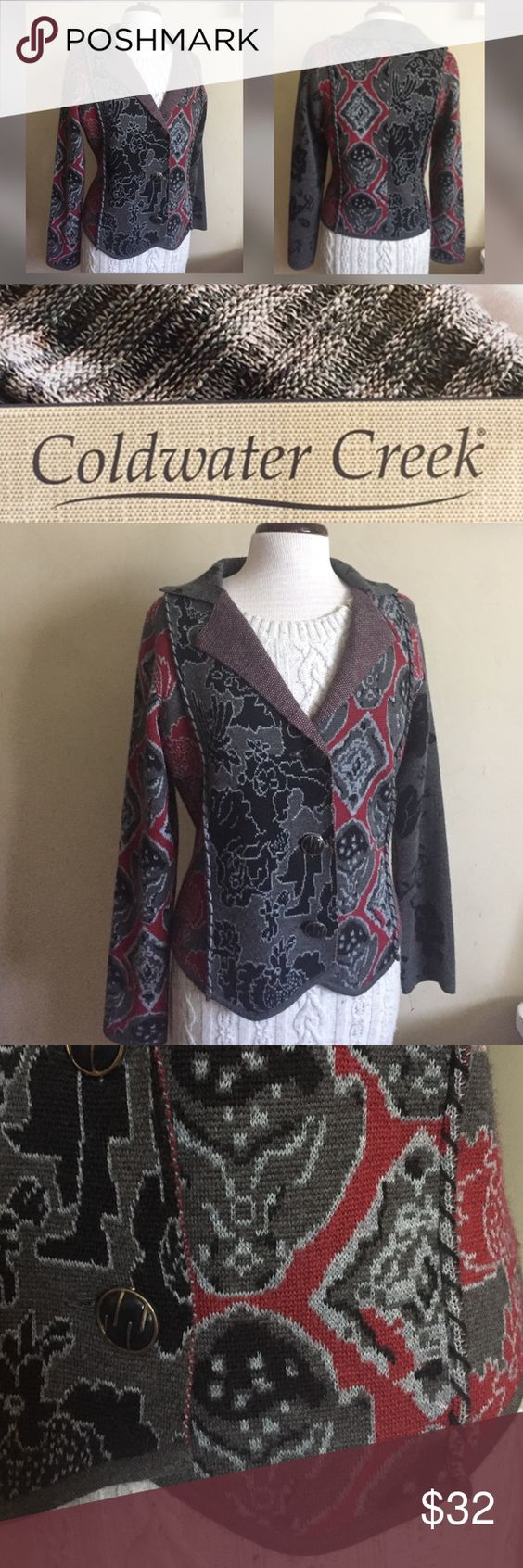 Coldwater Creek Cardigan Pretty patchwork style knitted cardigan. Beautiful combination of red, black and grey colors. In very good pre-owned condition. Coldwater Creek Sweaters Cardigans