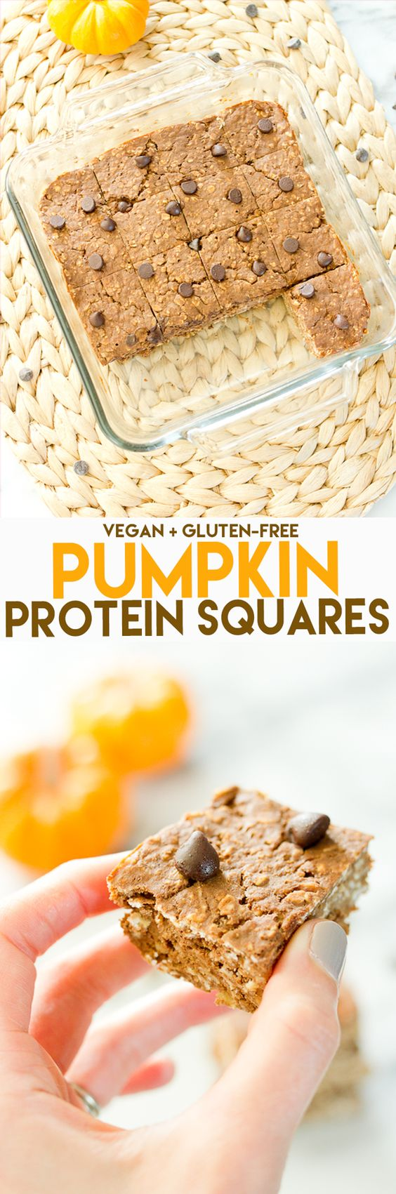 Pumpkin Protein Bars // 60 cals, 5 grams of protein, 7 grams of carbs #vegan #glutenfree