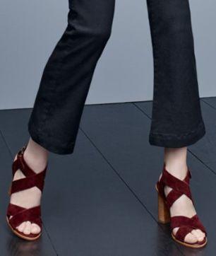 crisscross block heel sandal