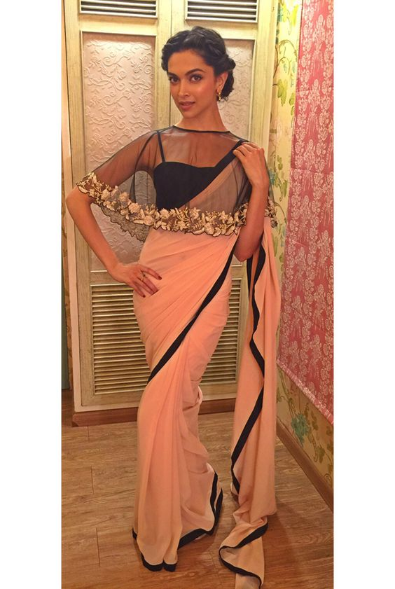 Payal Singhal Sarees Collection : PS-ST0470 : Blush Pink Georgette Cape Saree