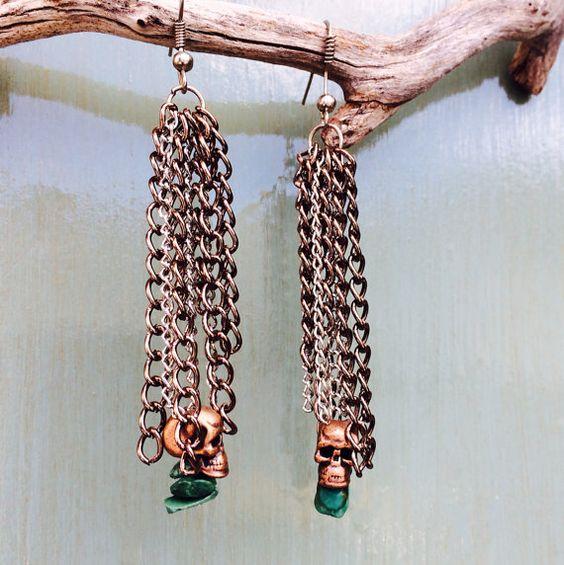 Hipster Skull - Good Vibes - earrings on Etsy, $12.50