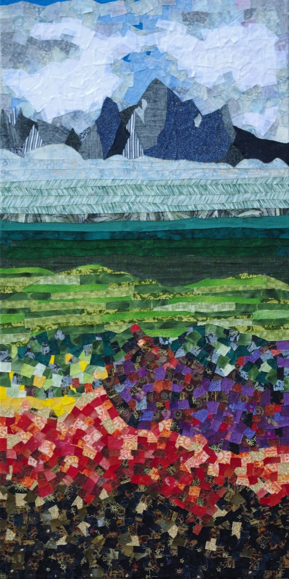 Fabric Mosaic on canvas. Artist: Kristina Jones 2015