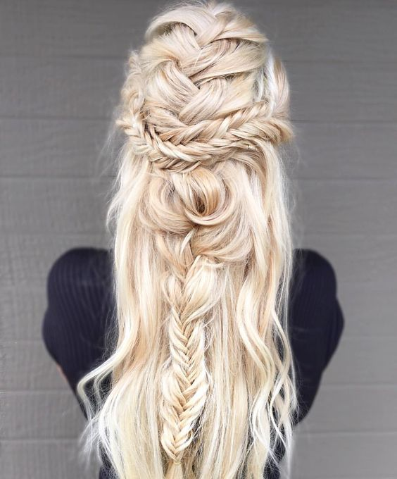 French braid and Fishtail braid hair down style