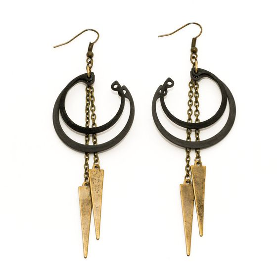 Stacked Ring Earrings Black by Crow Jane