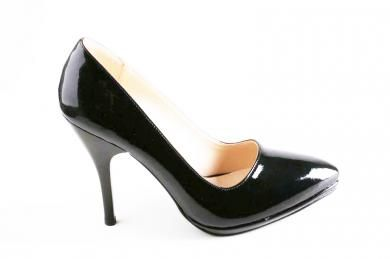 Carla Rossi - Kadın Siyah-lacivert Rugan şık Topuklu Ayakkabı